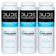 DUDE Post-Shower Deodorizing Body Powder For Men 4oz – Fragrance Free (Pack of 3)