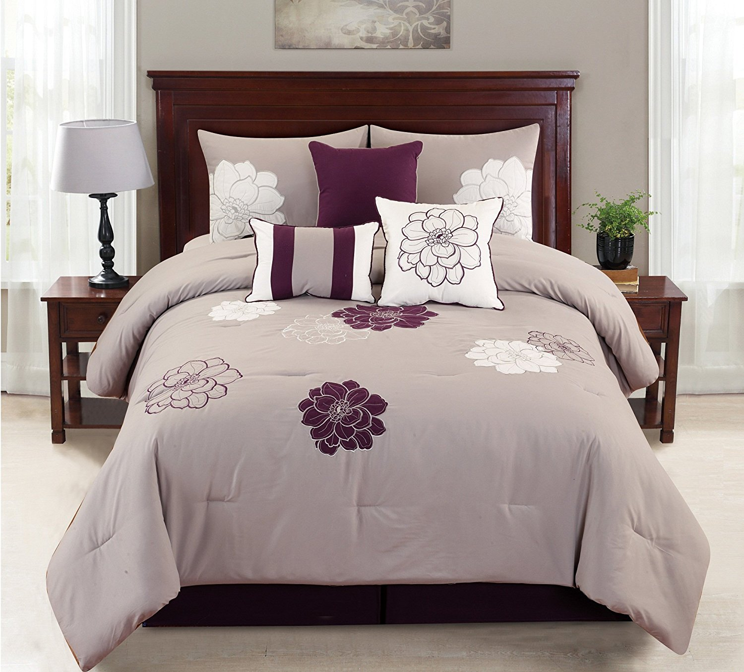 Empire Home Province 7 Piece Purple & Gray Oversized Embroidered Comforter Set (Queen Size)