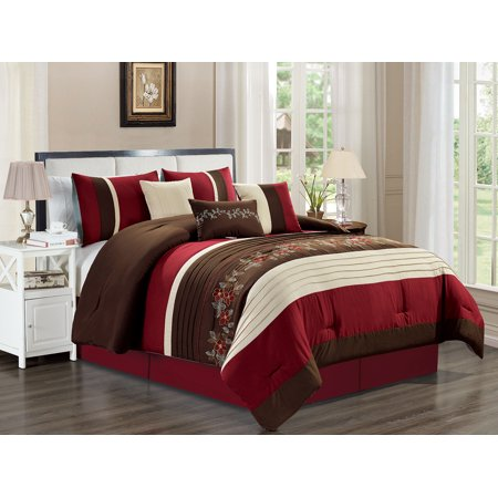 Cindy Crawford Bedding - 7-Pc Crawford Floral Blossom Vine Embroidery Pleated Comforter Set Burgundy Red Beige Brown Queen