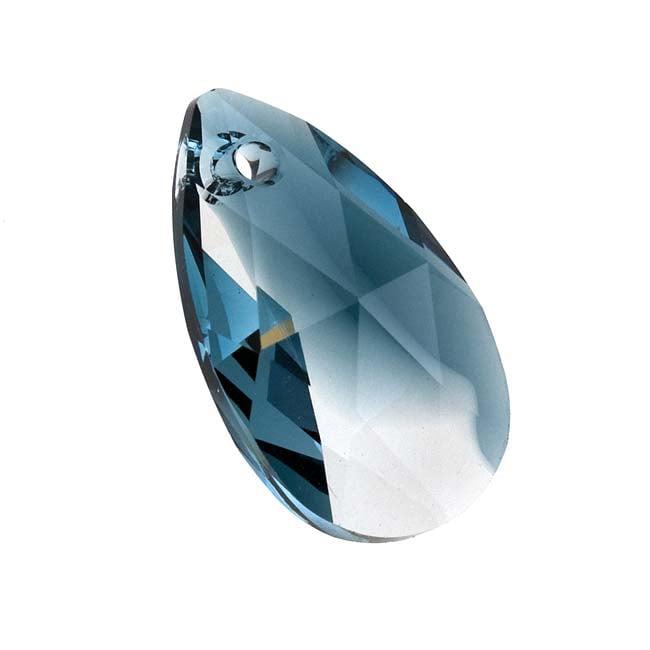 Swarovski Crystal, #6106 Pear Pendant 22mm, 1 Piece, Crystal / Montana Blend
