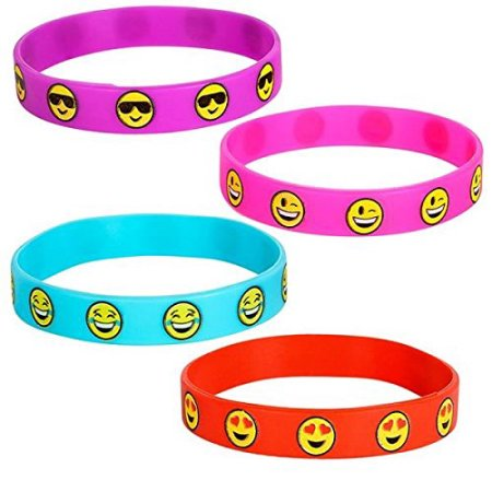 Cp Emoji Smile Emoticon Silicone Wristband 4 Piece Bracelet Set - Halloween Smiley Emoticons
