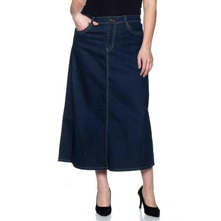 Women's Plus Size Mid Rise A-Line Long Jeans Maxi Denim Skirt