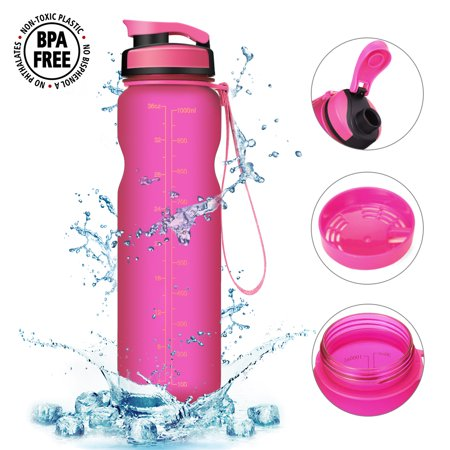 CAMTOA Water Drink Bottle 36oz Water Bottle – BPA Free – Best Sports Bottle Water Bottle Leak Proof Plastic Water Bottle, Kids Drinks bottle, Yoga Bike Running Camping Office