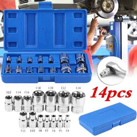 HURRISE 14Pcs E-Type Torx Star Bit Socket Set E4-E24 1/4  3/8  1/2  Drive Repair Tool Kit, Torx Star Bit, Torx Bit Set