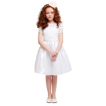 Efavormart Luring Lace and Glistening Taffeta Knee length Dress Birthday Girl Dress Junior Flower Girl Wedding Party Event Dress