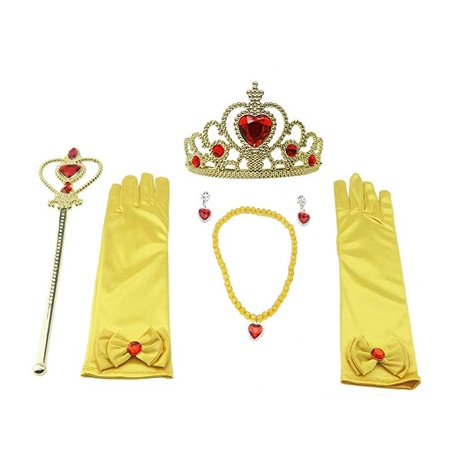 Princess Wand Necklaces Dress up Tiara Crown & Accessories Gloves Presents for Kids Girls Pretend Play (Dress Up Accessories For Girls)