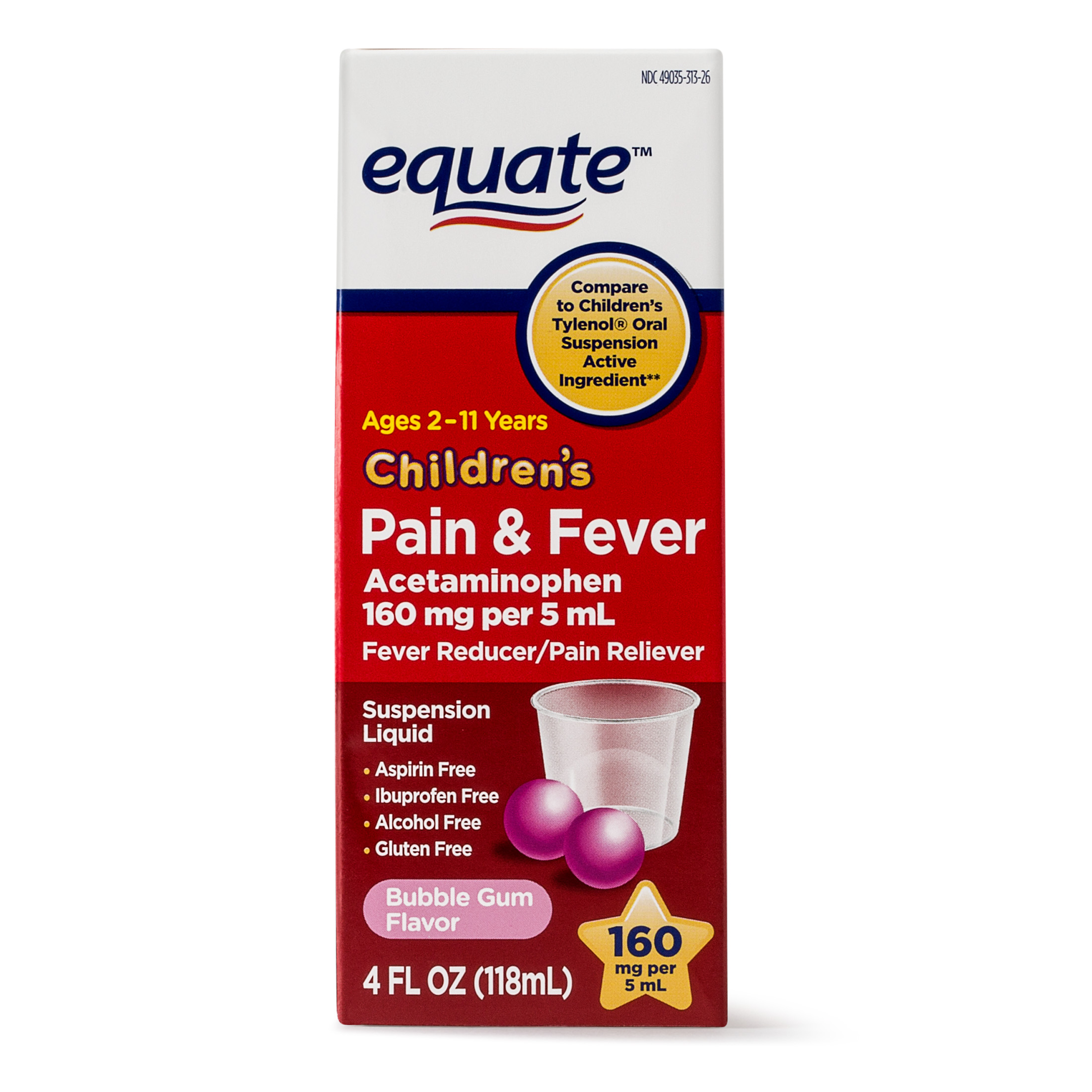 Equate Childrens Acetaminophen Bubblegum Suspension, 160 mg, 4 Oz