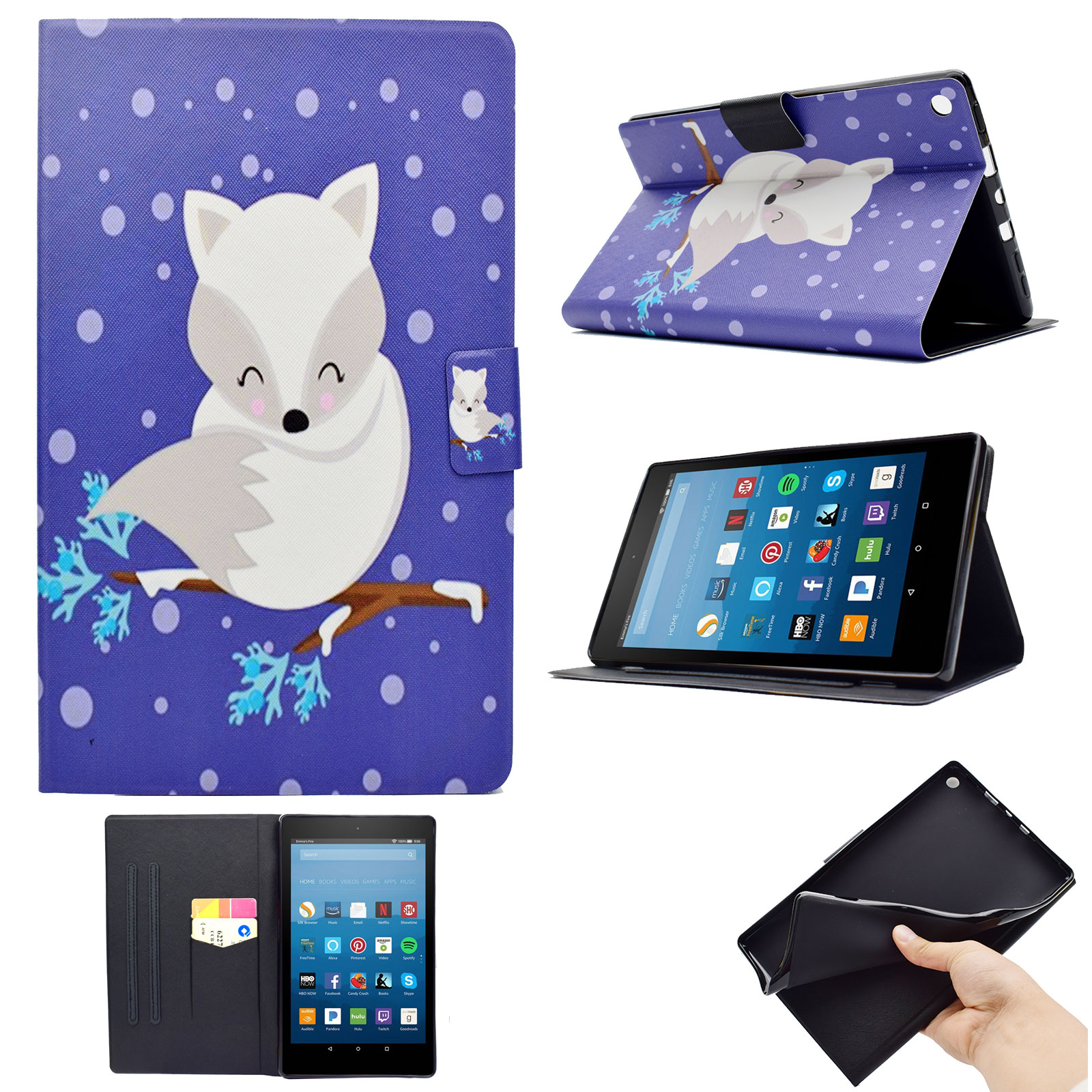 Goodest Folio Case for Amazon Fire HD 10 Tablet (2017 and 2015 Release, 7th/5th Generation), Mutiple Angle Stand Case w/Auto Wake/ Sleep & Card Slot for Fire HD 10 Tablet, White Fox