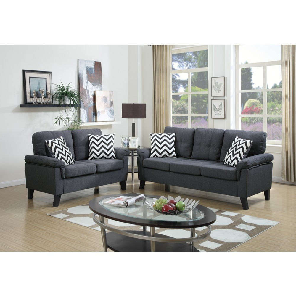 Linen Fabric 2 Pieces Sofa Set In Blue Gray
