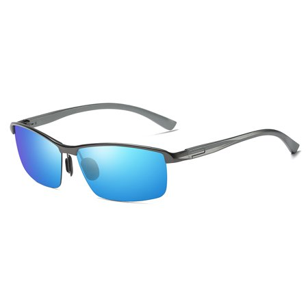 Cyxus Mens Semi-Rimless Polarized Sunglasses with Spring Hinges for Anti Glare UV Driving Cycling Fishing Skating Outdoors Sports(Matte Gray/Blue)