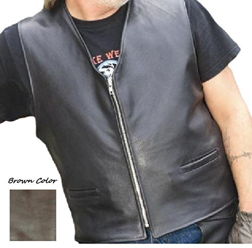 Reed® Men's Naked Cow Leather Motorcycle Vest Made in USA (3XL, Black)