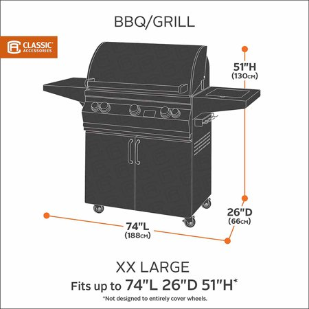 Classic Accessories Water-Resistant 74 Inch BBQ Grill Cover