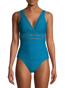 Time and Tru Women's Odes Sea Solid Tankini Swimsuit Top