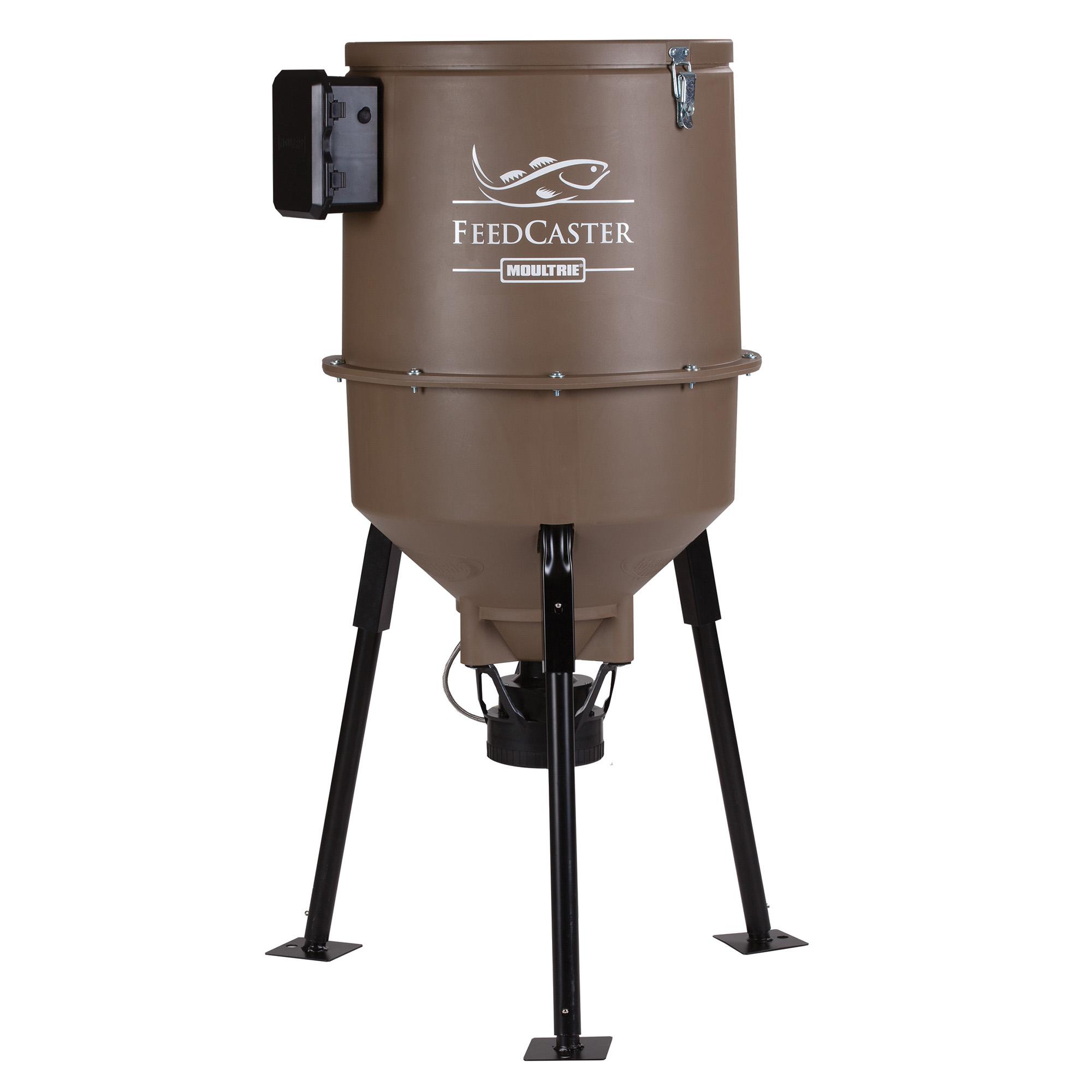 Moultrie 30 Gallon Feedcaster Pro Directional Tripod Fish Feeder w/ Metal Feet