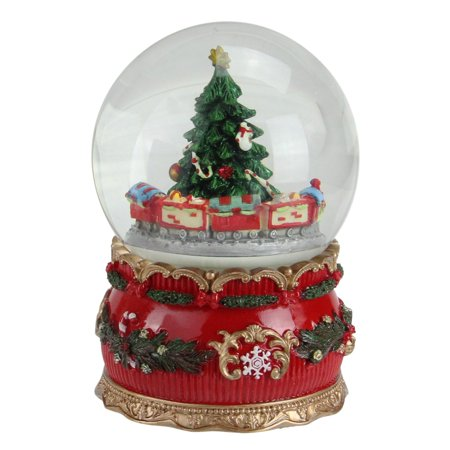 "6"" Musical Christmas Tree and Train Animated Water Globe Table Top Decoration - Walmart.com"