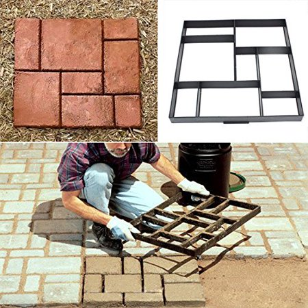 DIY Path Maker Mold Garden Paving Mould Patio Concrete Stone Lawn Walk Maker Slabs Path Brick ()