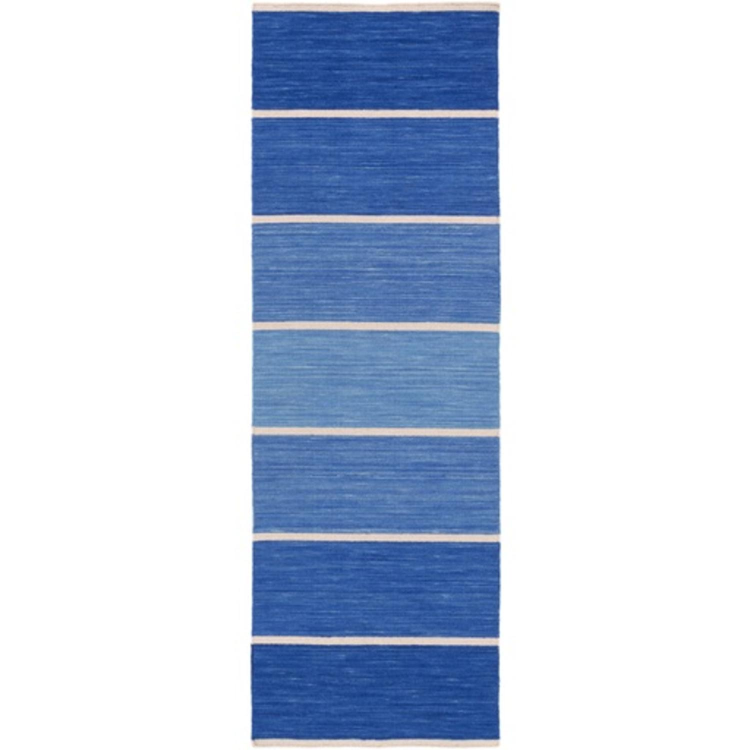 2.5' x 8' Brillante Sky and Midnight Blue Hand Woven Area Throw Rug Runner