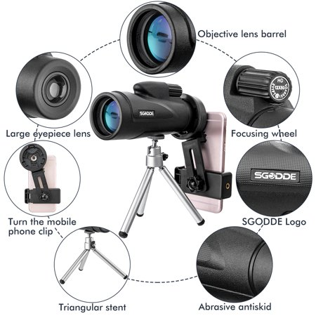 12x50 HD Dual Zoom/ Cellphone Monocular Telescope, Waterproof Fogproof Optical Monocular for Traveling, Hunting + Phone Adapter + Tripod for Smartphone - image 5 of 9