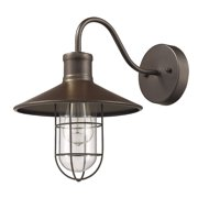 """CHLOE Lighting CHARLES Industrial-style 1 Light Rubbed Bronze Wall Sconce 11"""" Wide"""