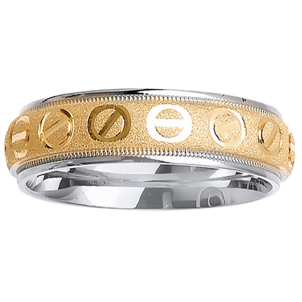 18K Two Tone Gold Screw Back Modern Comfort Fit Women's Wedding Band (6mm)