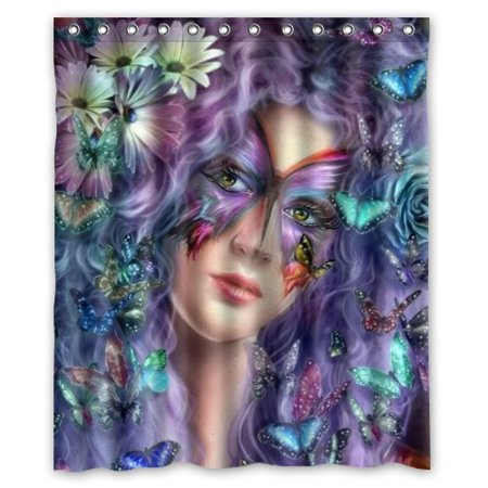 MOHome Purple Butterfly Angel Shower Curtain Waterproof Polyester Fabric Shower Curtain Size 60x72 inches