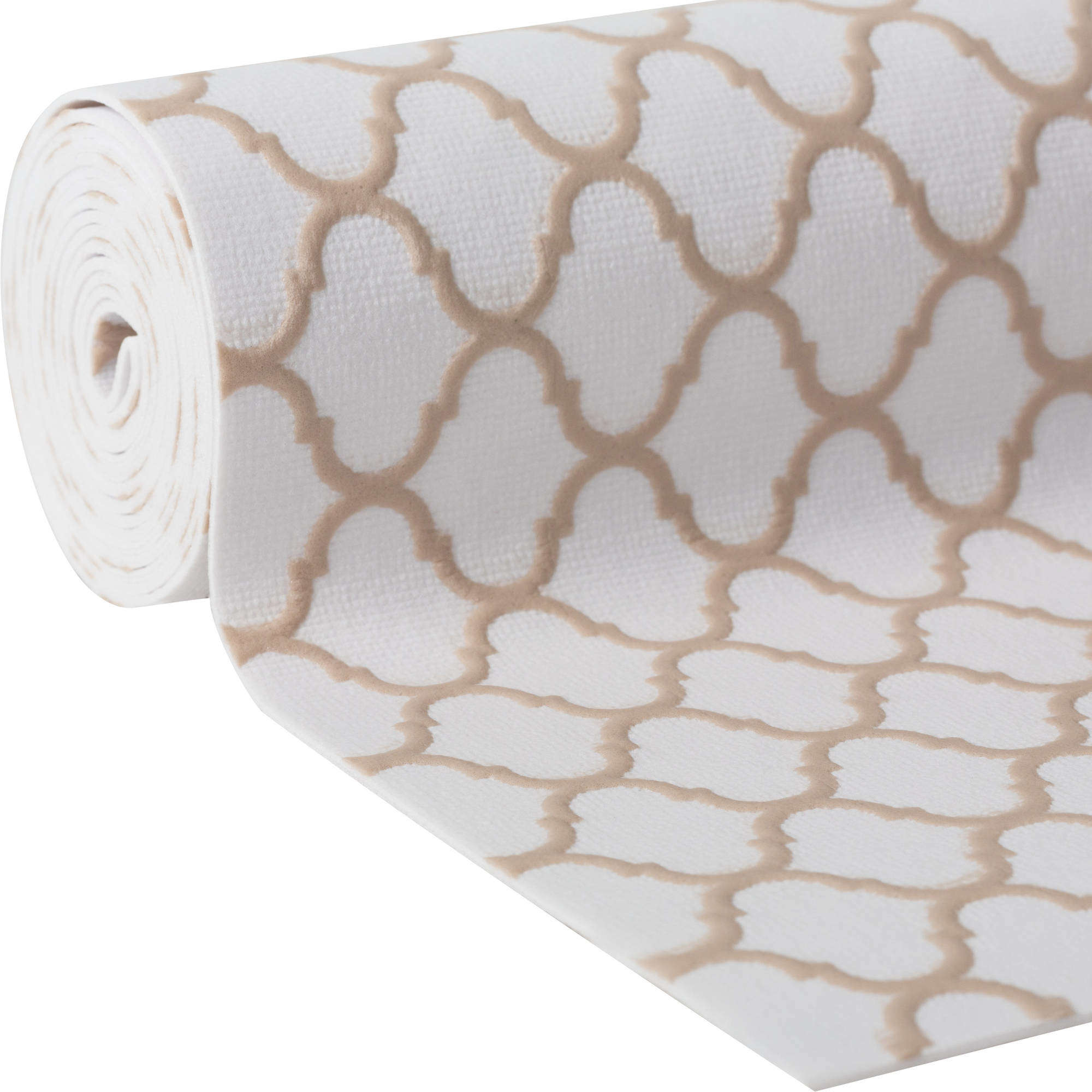 Duck Brand Embossed Solid Grip Easy Liner Brand Shelf Liner - Taupe Quatrefoil, 12 in. x 7 ft.