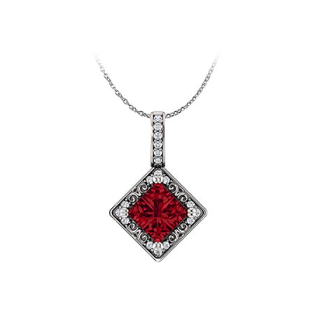 Free Chain with Ravishing Square Ruby and CZ Pendant - image 1 of 2