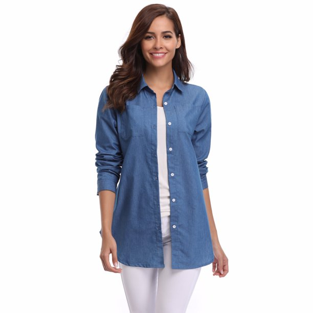 Miss Moly Women's Long Sleeve Denim Shirt Slim Blouse Front Placket Slenderizes Tops Blue