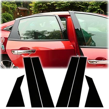 Car Door Edge Guard - Xotic Tech PC Auto Door Window Pillar Protector Cover Post Trim for Honda Civic 10th 2016-2018 - 6pcs Glossy Black
