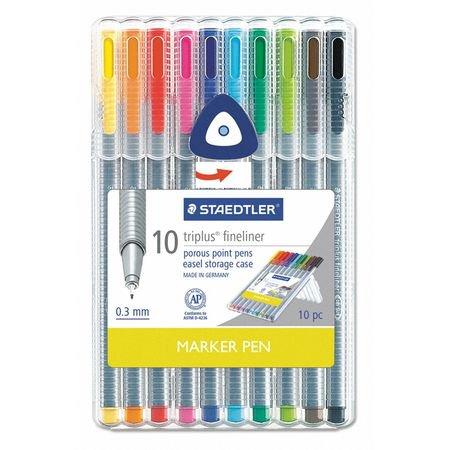 Staedtler Triplus Colour - Staedtler Fineliner Pens: Assorted Colors, 0.3mm, 10pk