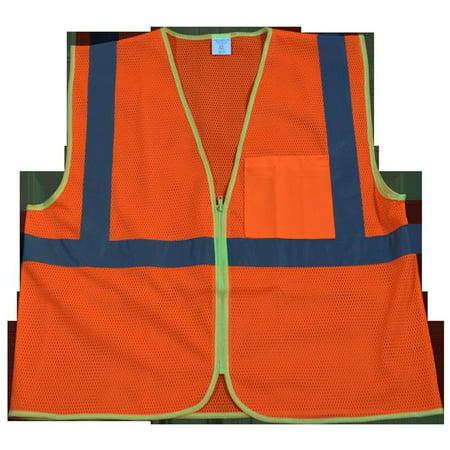 Petra Roc OVM2-CB0-4X-5X Safety Vest Ansi Class 2 Contrast Binding Orange Mesh, 4X & 5X