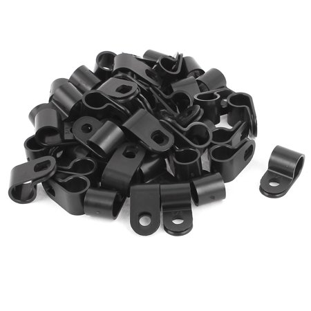 50Pcs Black Plastic R Type Cable Clip Clamp for 9mm Dia Wire Hose Tube