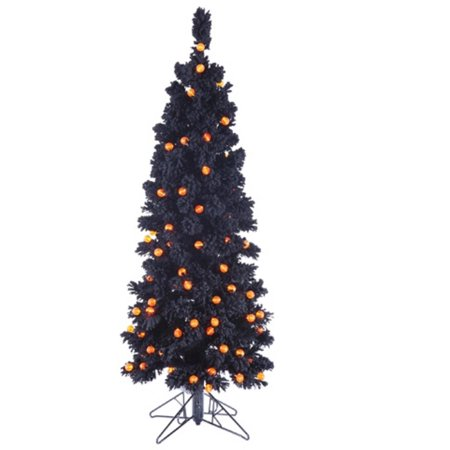 45 pre lit flocked black artificial halloween tree orange g25 led lights - Black Halloween Tree