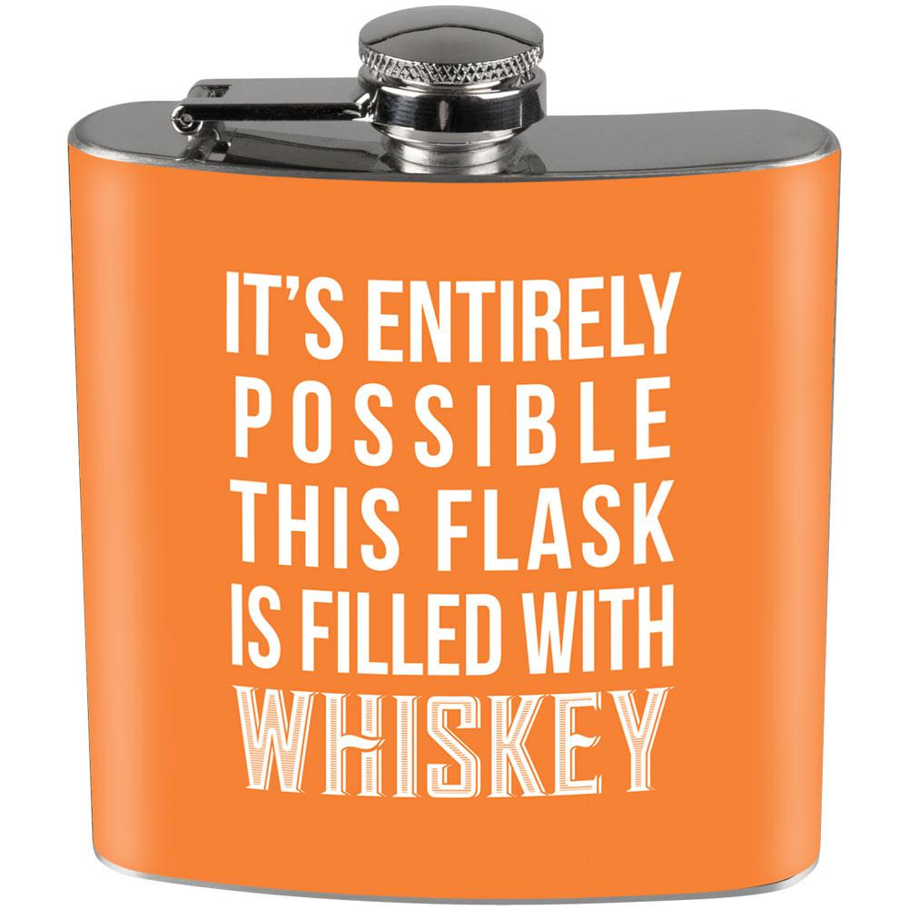 This Flask is Filled with Whiskey Full Wrap Steel Flask Orange