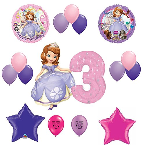 Sofia the First Party Supplies Happy 3rd Third Birthday Balloon Decorating Kit