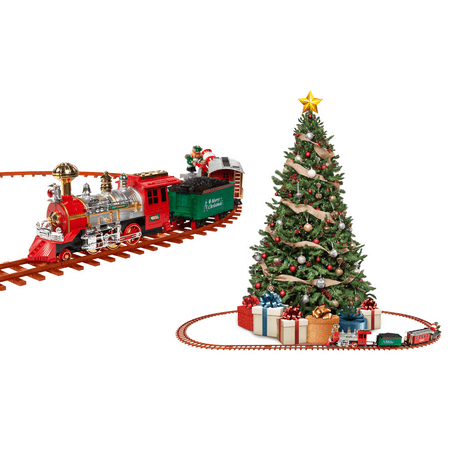 Santa's Christmas Train Set, Battery-Powered with Lights & Sounds (52 Pieces, 18 ft. of Track) ()