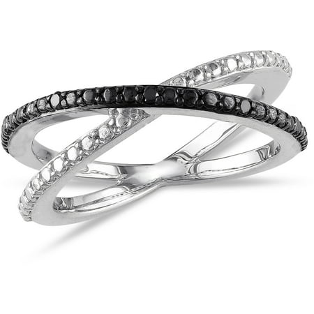 Black Diamond-Accent Sterling Silver Crisscross - Diamond Accent Criss Cross Ring