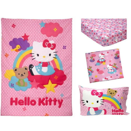 9d38a5a64 Hello Kitty Stars & Rainbows 4-Piece Toddler Bedding Set - Walmart.com