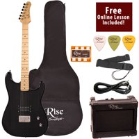 Rise by Sawtooth Right-Handed Transparent Black Full Size Beginner's Electric Guitar with Amp, Picks, Cable, Strap, Pitch Pipe, Gig Bag Soft Case & Free Online Lesson