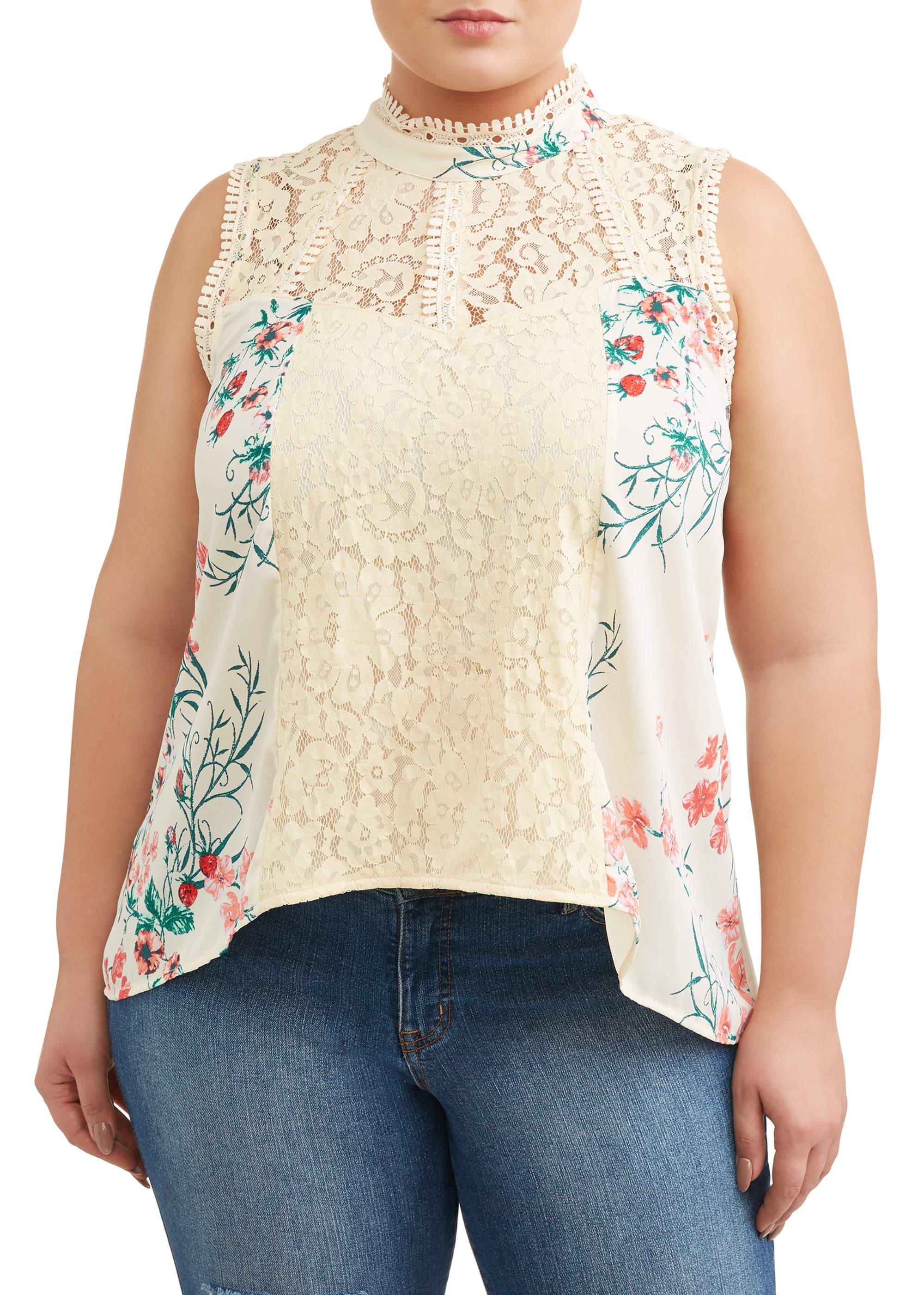 Women's Plus Size Victorian Lace Sleeveless Blouse