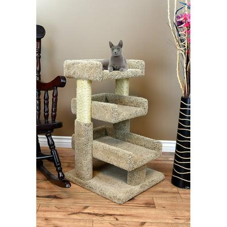Dyna Triple Trees - Prestige Cat Trees 33 in. Solid Wood Large Triple Cat Perch Tree