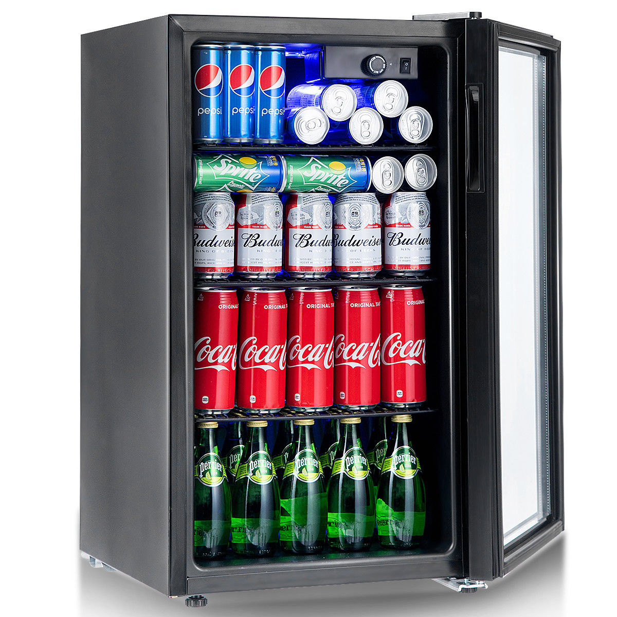 Gymax 120 Can Beverage Refrigerator Beer Wine Soda Drink Cooler Mini