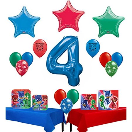 PJ Masks Party Supplies Happy 4th Birthday Supply And Balloon Bundle