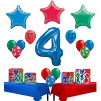 PJ Masks Party Supplies Happy 4th Birthday Party Supply and Balloon Bundle