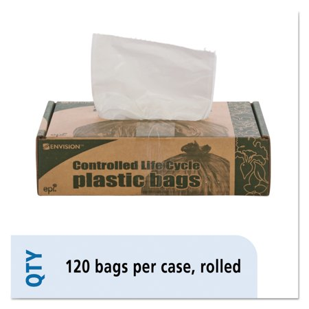 Stout By Envision Controlled Life Cycle Trash Garbage Bag  13Gal   70 Mil  24X30  White  120 Box