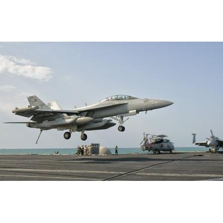 Persian Gulf October 31 2011   An Ea 18G Growler Trap Landing On The Flight Deck Of Uss George Hw Bush Poster Print