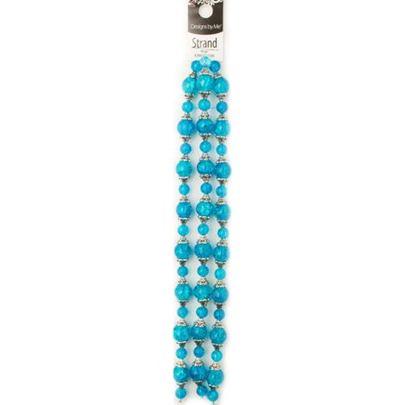 Turquoise Glass Crackle Beads with Caps, 99 Pieces for $<!---->