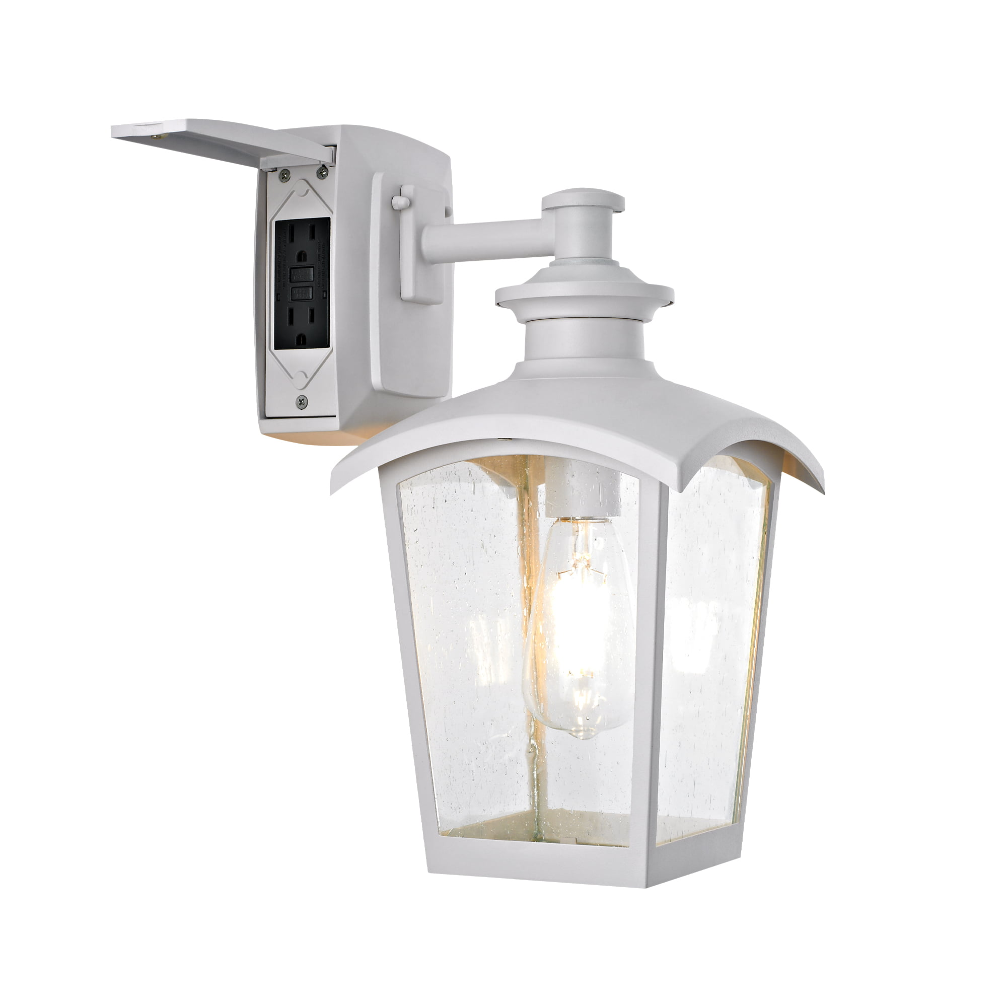 Home Luminaire Spence Collection 1 Light Outdoor Wall Lantern With Seeded Glass And Built In Gfci Outlets White Finish Walmart Com Walmart Com