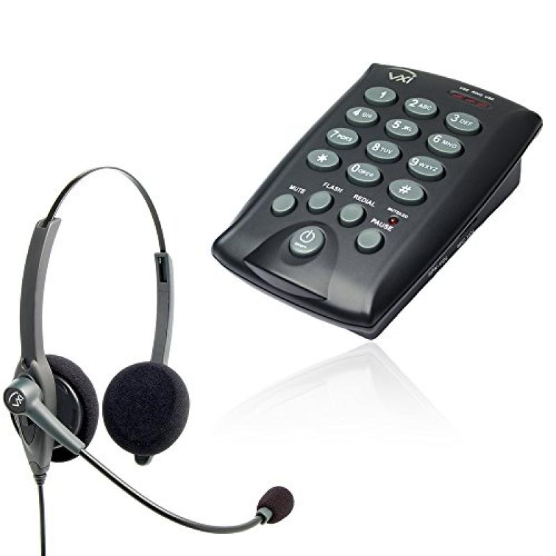 VXI Telephone with Dialpad and Headset | Plug n Play | Basic Package with D200 and VXI Passport 20G Headset by