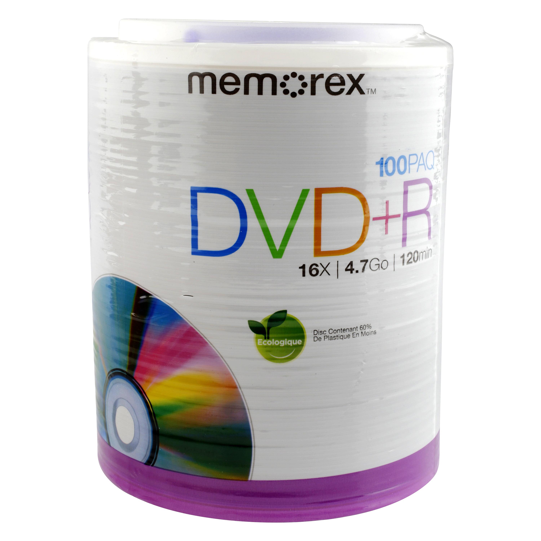 Memorex 100 Pack DVD Plus R Writeable 16Xw
